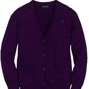 Ralph Lauren Purple Button Cardigan Sweater